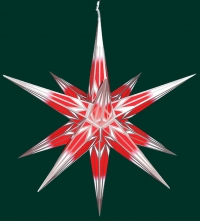 Haßlauer Weihnachtsstern rot/weiß mit Silbermuster - außen