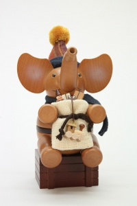 Räuchermann Elefant Weihnachtsmann natur