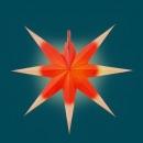 Annaberger Fensterstern flach - rot/weiß, Spitzen lang