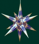 Haßlauer Weihnachtsstern blau/weiß mit Goldmuster - innen