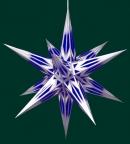 Haßlauer Weihnachtsstern blau/weiß mit Silbermuster - innen