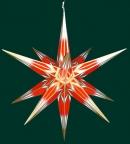 Haßlauer Weihnachtsstern rot/weiß mit Goldmuster - außen