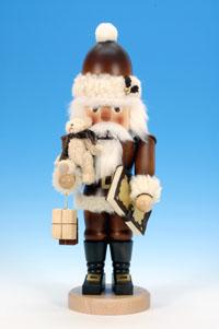Nussknacker Weihnachtsmann mit Teddy natur